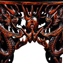 Chinese Dragon Red And Black End Table Nightstand Thumbnail 2