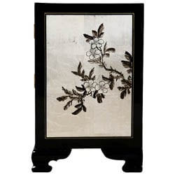 Black and Silver Chinese Cabinet/ End Table - Thumbnail 2