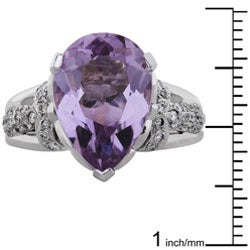 Annello by Kobelli 18k Gold Lavender Amethyst and 1/3ct TDW Diamond Ring (H, VS-SI) - Thumbnail 2
