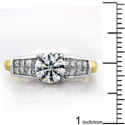 Annello by Kobelli Platium and 18k Gold 1 1/2ct TDW Certified Diamond Engagement Ring (F-H, VS-SI2) - Thumbnail 2