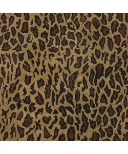 Hand-tufted Brown Leopard Animal Print Safari Wool Rug (8' Round) - Thumbnail 2