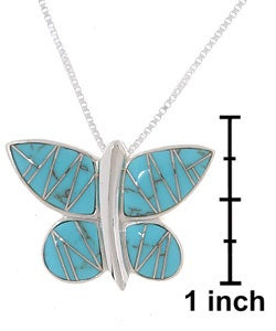 Sterling Silver and Turquoise Butterfly Pendant - Thumbnail 2