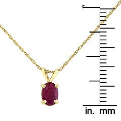14k Yellow Gold Oval Ruby Necklace - Thumbnail 2