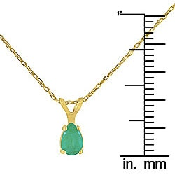 14k Yellow Gold Pear-shape Emerald Necklace - Thumbnail 2