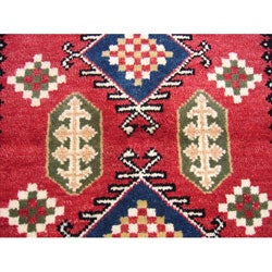 Indo Kazak Hand-knotted Red/ Ivory Rug (3' x 5') - Thumbnail 2