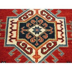 Indo Kazak Hand-knotted Red Rug (3' x 5') - Thumbnail 2