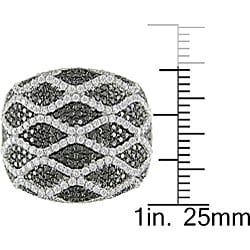 Miadora 18k Gold 2 1/8ct TDW Black and White Diamond Ring (G-H-I, SI) - Thumbnail 2