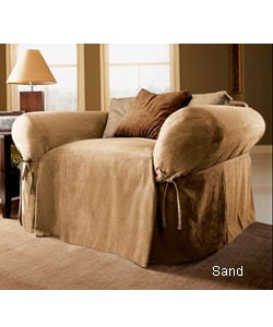 Classic Suede Oversized Chair Slipcover - Thumbnail 2