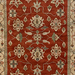 Hand-knotted Burgundy/Ivory Southwestern Park Ave  Wool Rug (9' x 13') - Thumbnail 2