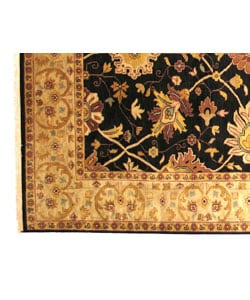 Hand-knotted Nargess Black Wool Rug (4' x 6') - Thumbnail 2