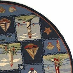 Safavieh Hand-hooked Nautical Blue Wool Rug (8' Round) - Thumbnail 2