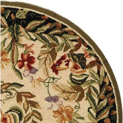 Safavieh Hand-hooked Rooster and Hen Cream/ Black Wool Rug (3' Round) - Thumbnail 2