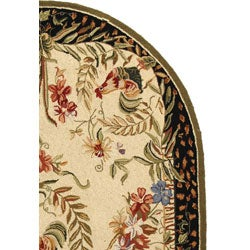 Safavieh Hand-hooked Rooster Cream/ Black Wool Rug (4'6 x 6'6 Oval) - Thumbnail 2