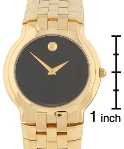 Movado Celestina Men's Goldtone Black Dial Watch - Thumbnail 2
