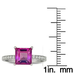 14k Gold Pink Topaz and 1/10ct TDW Diamond Ring ( H/I, I1/I2 ) - Thumbnail 2