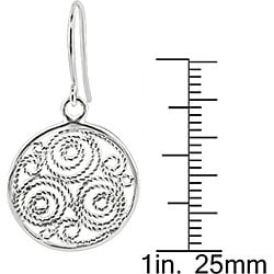 Miadora Sterling Silver Carved Circle Hook Earrings