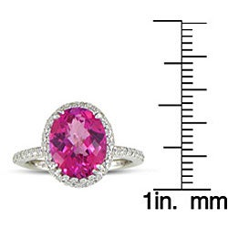 14k White Gold Pink Topaz and 1/2ct TDW Diamond Ring (J/K, I2/I3) - Thumbnail 2
