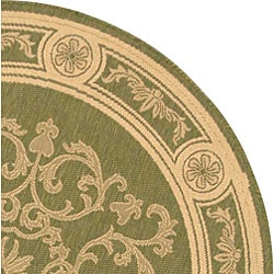 Safavieh Sunny Medallion Olive Green/ Natural Indoor/ Outdoor Rug (5'3 Round) - Thumbnail 2