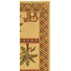 Safavieh Hand-hooked Elephant and Palm Ivory Wool Runner (2'6 x 10') - Thumbnail 2