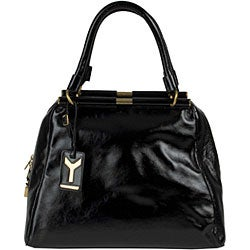 YSL 'Majorelle' Black Patent Leather Medium Bag - Thumbnail 2