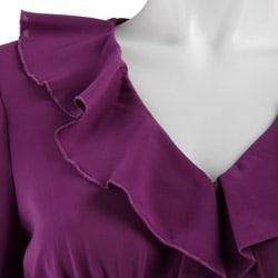 Spense Women's 3/4-sleeve Ruffle Tunic Top - Thumbnail 2