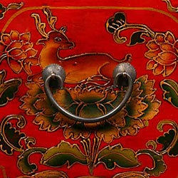 Tibetan Red/ Black Hand-painted Floral End Table - Thumbnail 2