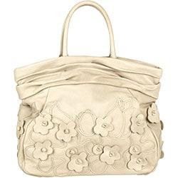Prada 'Intarsio Flower' Cream Leather Shopping Bag