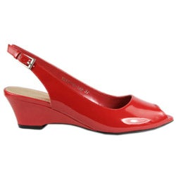 Thumbnail 3, Beston Women's Patent Leather Sling Back Wedges. Changes active main hero.