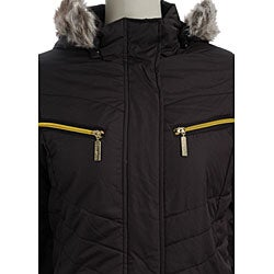 Faux Fur Hooded Trim Missy Coat