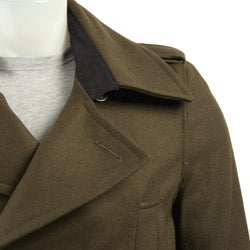 Black Rivet Men's 3/4-length Wool Blend Overcoat
