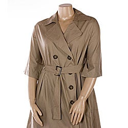 Mlle Gabrielle Women's Plus Size Trench Coat Dress - Free Shipping ...