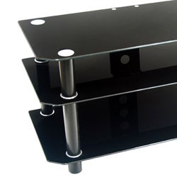 Contemporary 42-inch Black Glass TV Stand