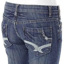 Smash Junior's Vintage Distressed Flair Jeans - Thumbnail 2