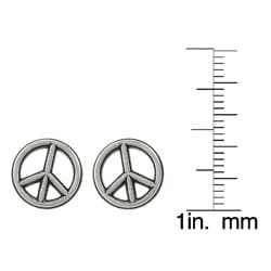 Journee Collection Sterling Silver Peace Sign Earrings - Thumbnail 2