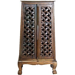 Hand-carved Lattice Design 50-inch Storage Cabinet - Thumbnail 2