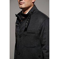 Wool and Cashmere Charcoal Beltless Coat - Thumbnail 2