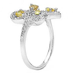Malaika Silver Genuine Yellow Sapphire Pears Ring