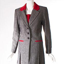 Audrey B Women's Long Suit Coat and Pant Set - Thumbnail 2