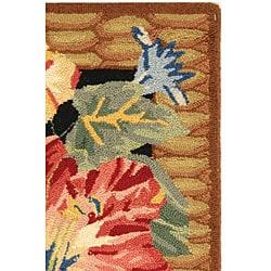 Safavieh Hand-hooked Floral Black Wool Rug (1'8 x 2'6) - Thumbnail 2