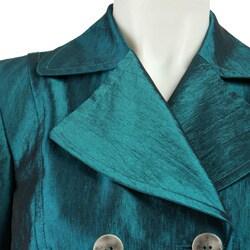 Muse Women's Turquoise Taffeta Trench Jacket - Thumbnail 2