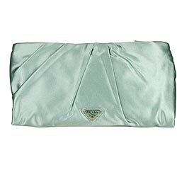 Prada Satin Rose Mint Green Clutch - Thumbnail 2