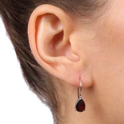 Glitzy Rocks Sterling Silver Garnet Teardrop Earrings