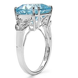 Malaika Sterling Silver Blue Topaz and Diamond Accent Ring