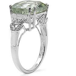 Malaika Sterling Silver Green Amethyst and Diamond Accent Ring - Thumbnail 1