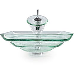 Kraus Oceania Clear Glass Sink and Waterfall Bathroom Faucet