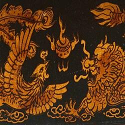 Black Leather Chinese Dragon Storage Box