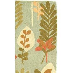 Safavieh Handmade Ferns Contemporary Light Blue Wool Runner (2'6 x 10') - Thumbnail 2