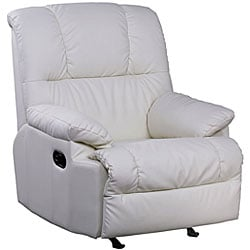 Cream Leather Rocker Recliner Chair