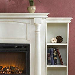 ... Grenoble White Bookcase/ Electric Fireplace with Remote
