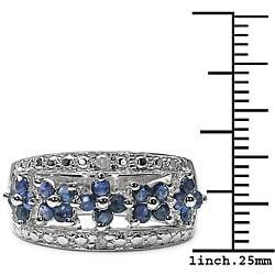 Malaika Sterling Silver Blue Sapphire Diamond Ring - Thumbnail 2